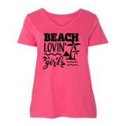 Summer Beach Lovin Girl with Palm Tree and Umbrella Women's Plus Size V-Neck