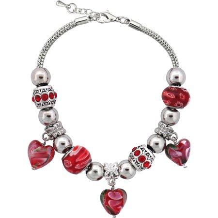 Bracelets With Beads (Silvertone Red Heart Charm and Glass Beads Bracelet with Extender,)
