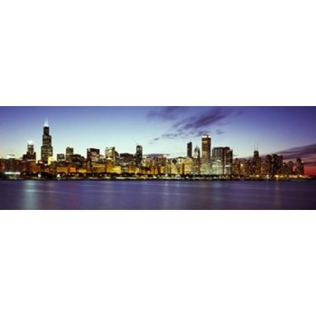 Buildings at the waterfront Lake Michigan Chicago Cook County Illinois USA Canvas Art - Panoramic Images (18 x 6) (Lake Michigan Chicago Halloween)