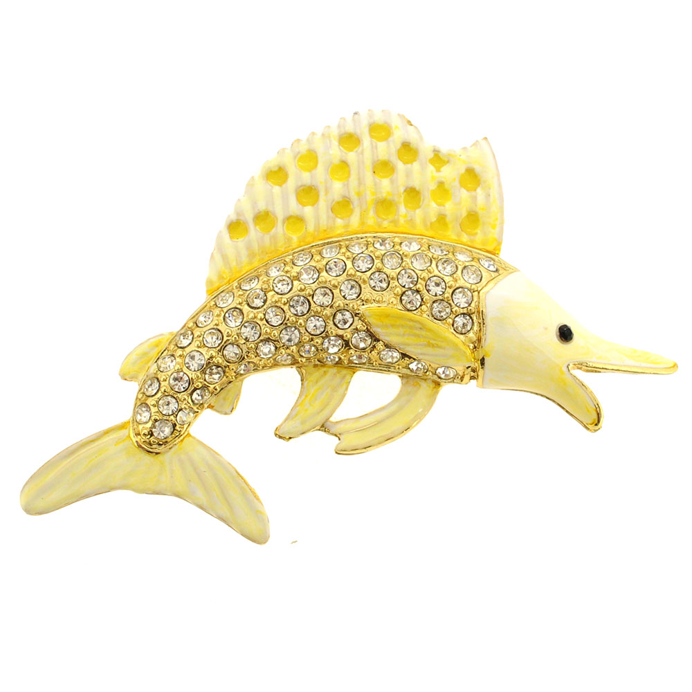 White Yellow Swordfish Crystal Pin Brooch by