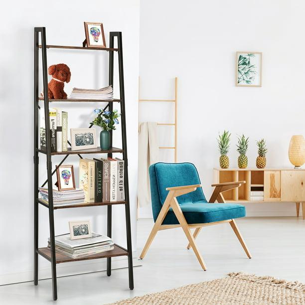 Ladder Shelf Industrial Bookshelf 5 Tier Black Modern Bookcases For Storage Open Book Shleves and Bookcases