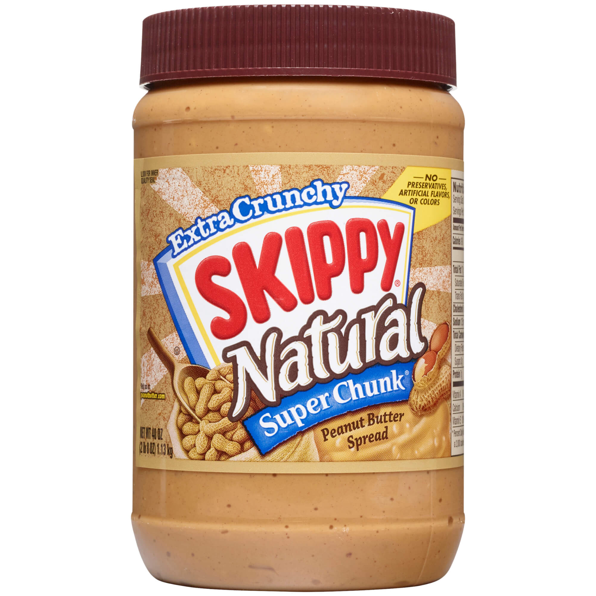 Skippy Natural Super Chunk Peanut Butter Spread, 40 Ounce