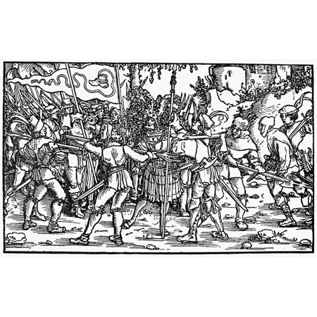 Peasants War 1539 Nrebellious Peasants Under The Bundschuh Banner Surround A Noble Poster Print By Granger Collection