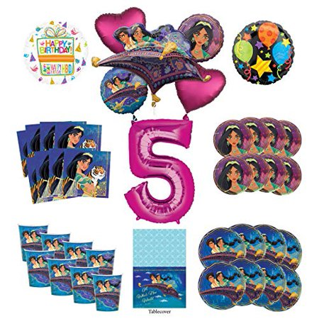 Mayflower Products Aladdin and Princess Jasmine 5th Birthday Party Supplies 8 Guest Decoration Kit and Balloon Bouquet - Pink Number 5](Princess Peach Decorations)