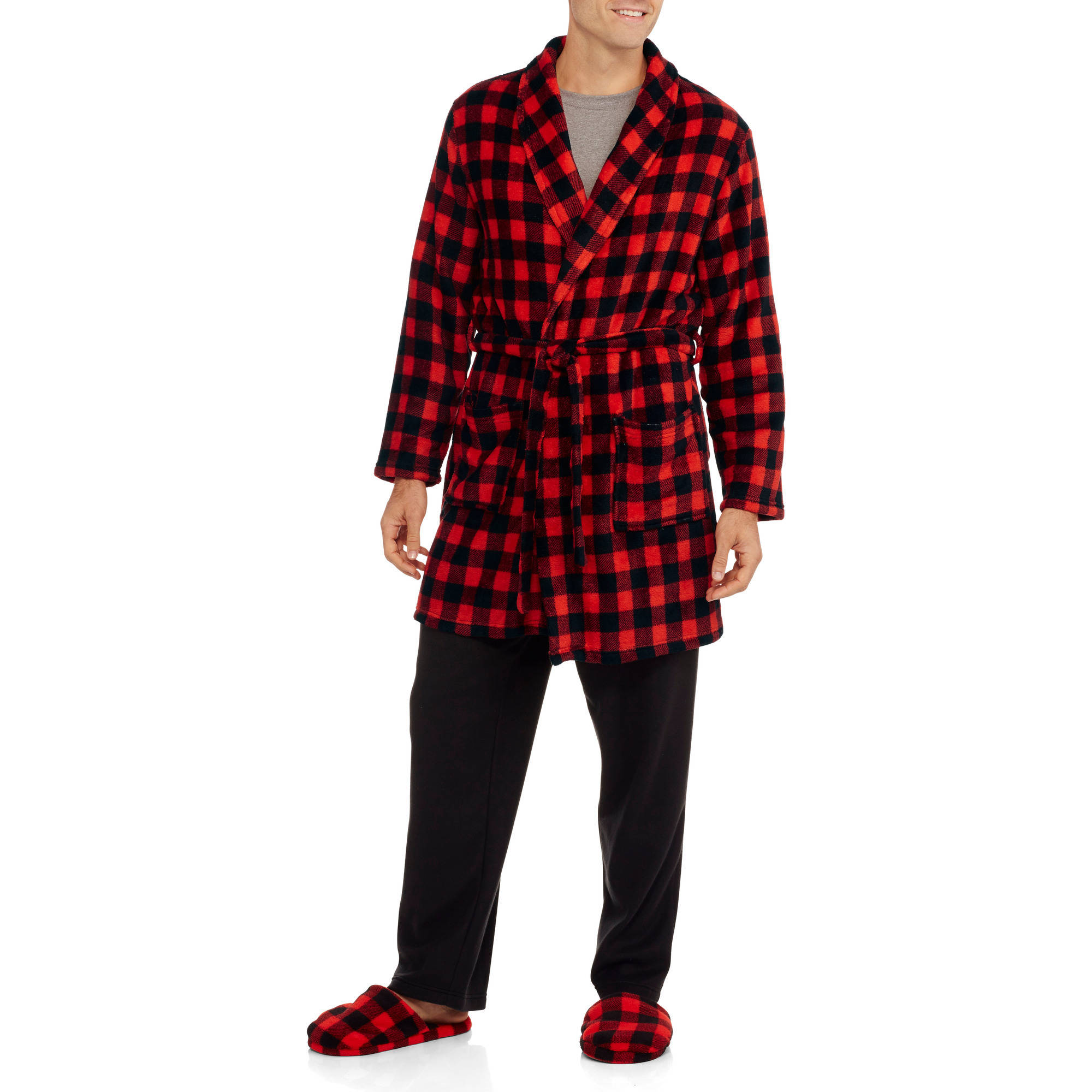 Men's Fleece Robe and Slipper Set