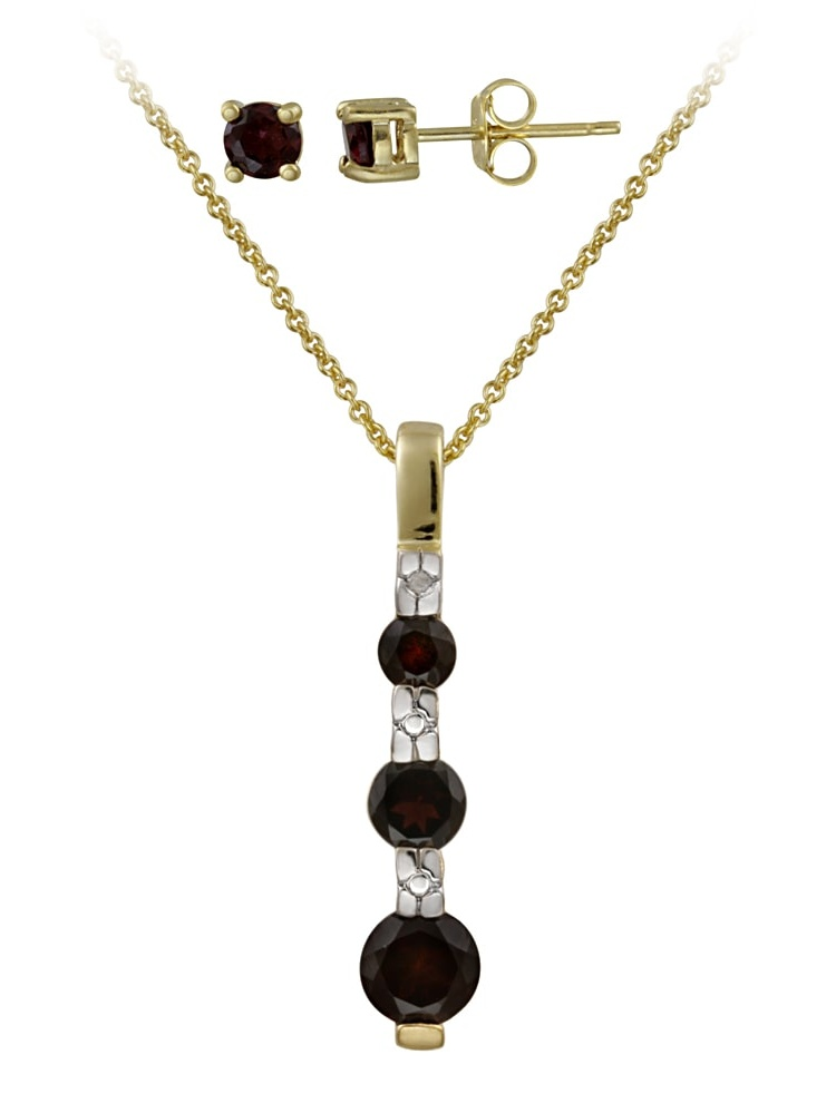 Glitzy Rocks  Sterling Silver Garnet and Diamond Accent Jewelry Set