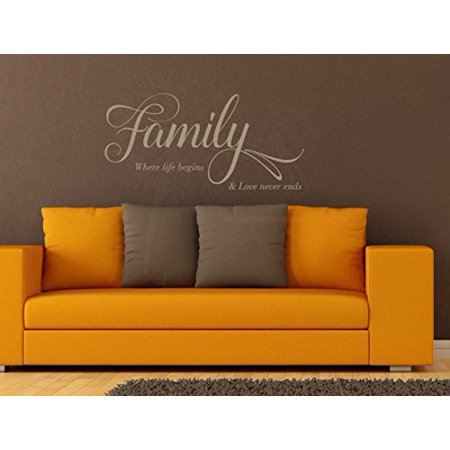Love Never Ends (Family Life Begins, Love Never Ends Vinyl Lettering Wall Decals Family Quotes, 36x17-Inch,)