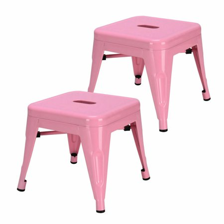 Gymax Set of 2 Stackable Stool Tolix Style Kids Children Lightweight Stool Metal Pink - image 5 de 7