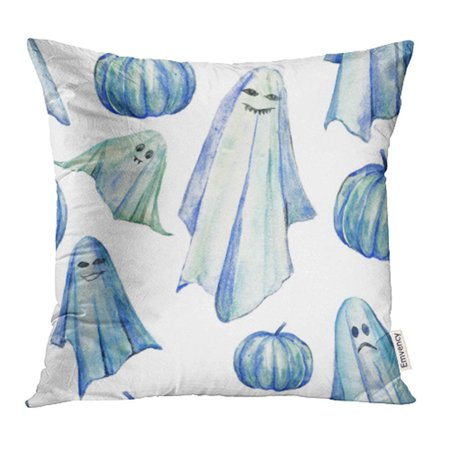 CMFUN Hand Watercolor Spooky with Ghosts and Pumpkins White Original Halloween in Blue Pillow Case Pillow Cover 18x18 inch Throw Pillow Covers](Original Halloween Name)