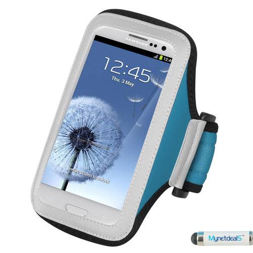 "Premium Large Size Sport Armband Case for iPhone 6 Plus ( 5.5"") - Light Blue + MYNETDEALS Mini Touch Screen Stylus"