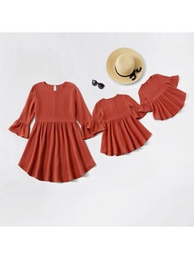 PatPat Solid Bell Sleeve Mommy and Me Matching Dresses