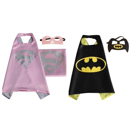 Supergirl & Batman Costumes - 2 Capes, 2 Masks with Gift Box by Superheroes - Batman Cape And Mask For Adults