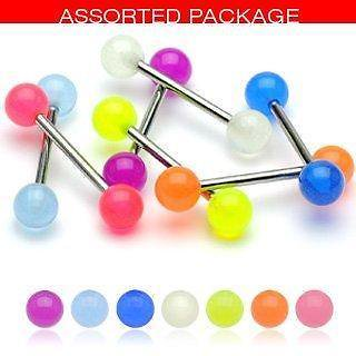 Tongue Rings 6 Glow in the Dark Acrylic Tongue Ring 14g - In Assorted Colors