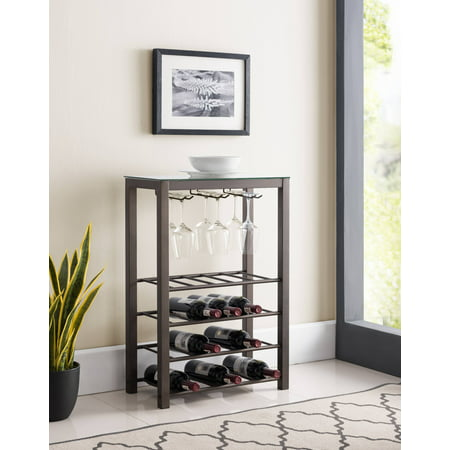 Trier 4 Tier Wine Rack Stand, Pewter Metal & Tempered Glass Top With Storage Shelves & Wine Glass Holders (Pewter Stand)