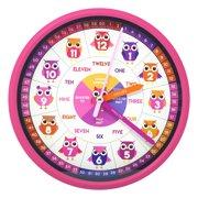 Educational Wall Clock, Pink/Owl Print