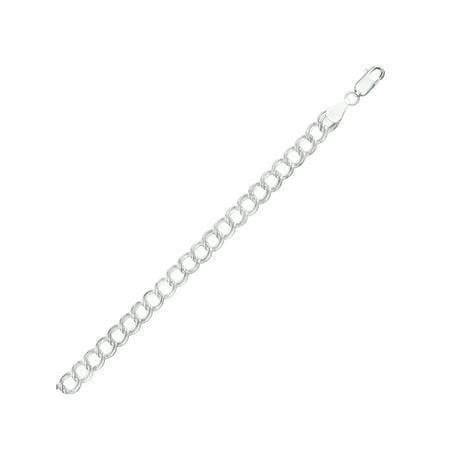 Sterling Silver 6mm Gemellata Charm Link Italian Chain Bracelet, 8
