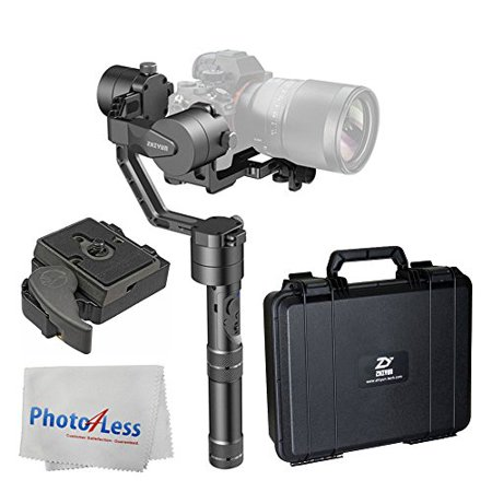 Zhiyun Crane Professional 3-Axis Brushless Handheld Gimbal Stabilizer for Mirrorless Cameras + Manfrotto 323 RC2 Rapid Connect Adapter w/ 200PL-14 Quick Release Plate + Photo4Less Cleaning Cloth