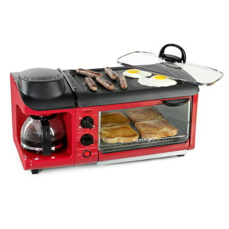 Nostalgia BST3RR Retro 3-in-1 Family Size Electric Breakfast Station, Coffeemaker, Griddle, Toaster Oven - Retro Red