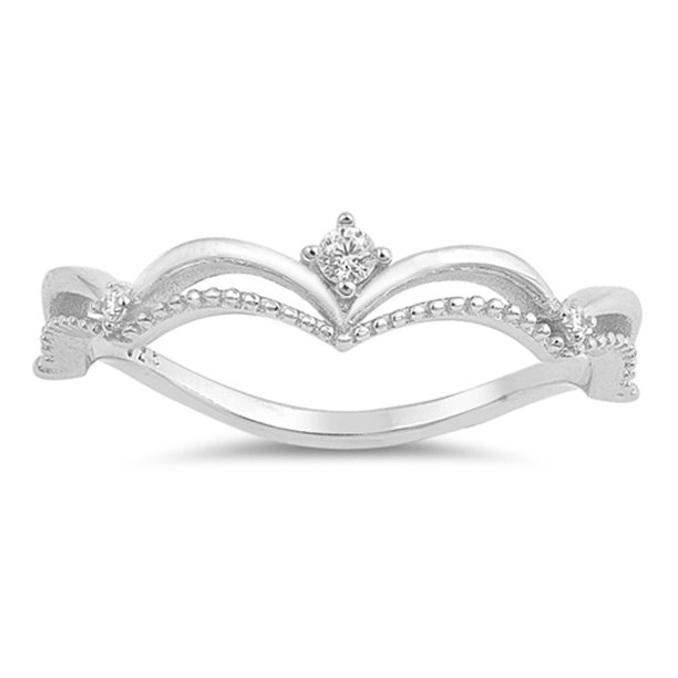 White CZ Tiara Wave Solitaire Accent Ring .925 Sterling Silver Band Size 6