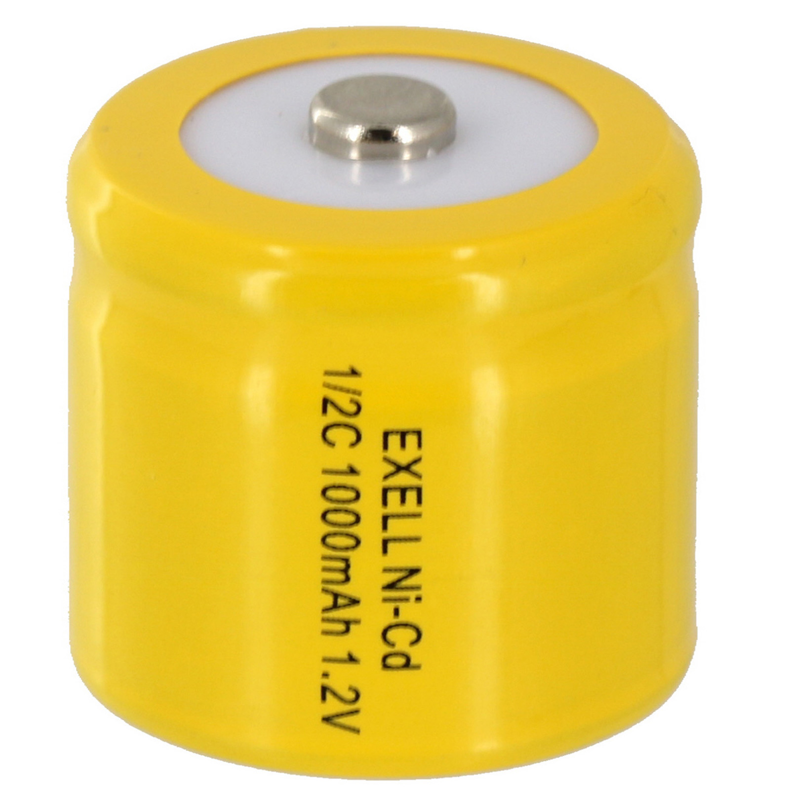Exell 1/2C NiCD 1000mAh 1.2V Button top Rechargeable Battery