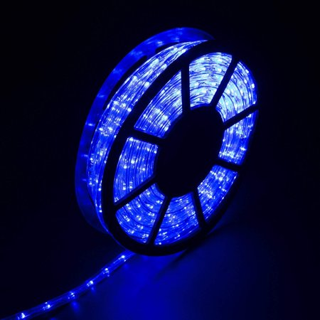 Ainfox 110V 100 Ft. 2 WireLed Rope Lights Strip Waterproof Indoor Outdoor Use for Backyard Party Christmas Thanksgiving Decoration (Blue) ()
