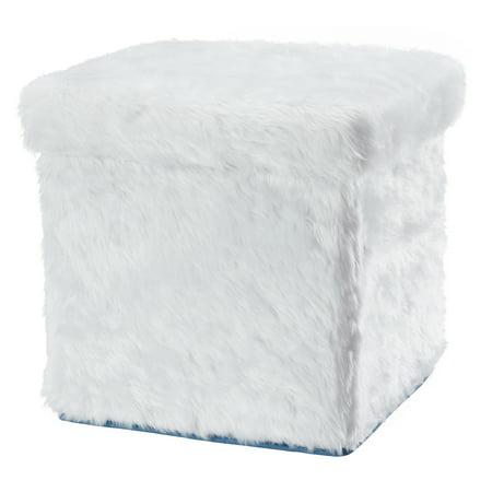 Mainstays Collapsible Storage Ottoman Fur White Walmart Com
