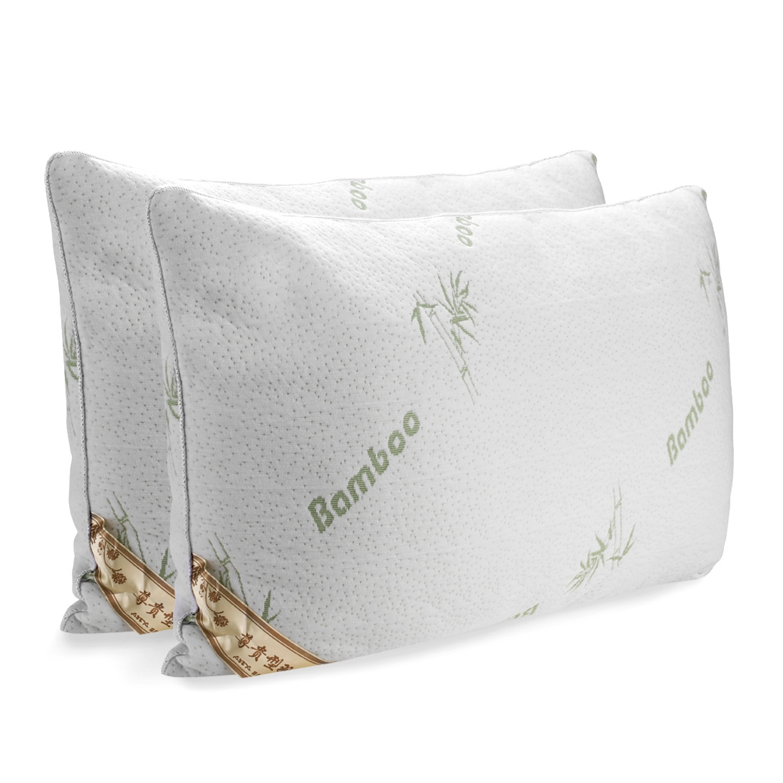 2-pack Comfort Sleep Bamboo Pillow Protection Neck Bed Pillows by