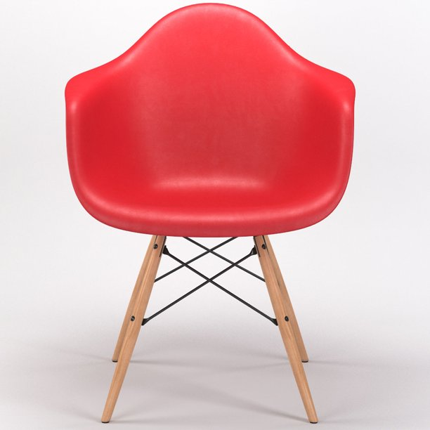 Gibson Living Room Decor Drame Wooden Base Armchair in Red ...