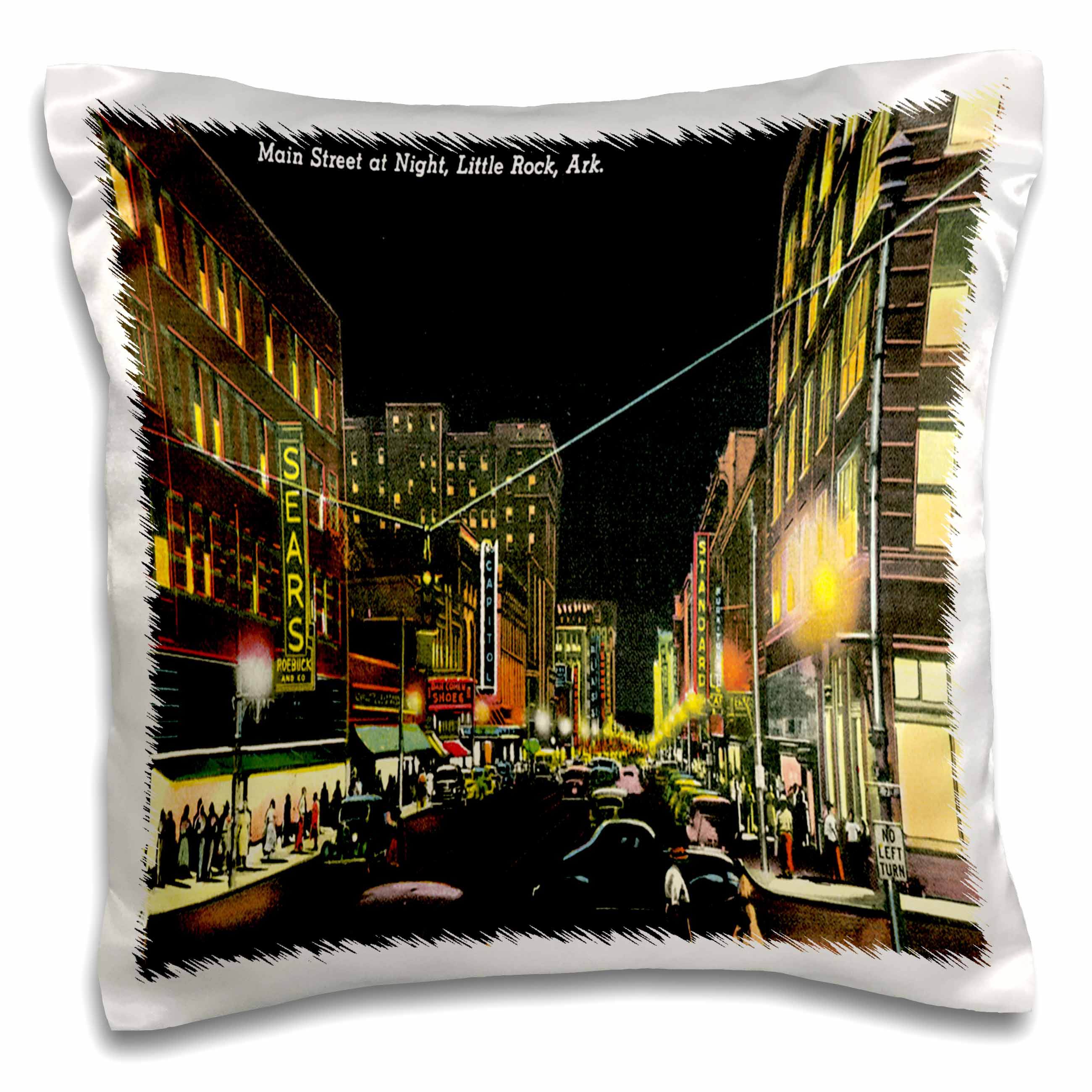 3dRose Main Street at Night, Little Rock, Arkansas Street Scene with City Lights - Pillow Case, 16 by 16-inch