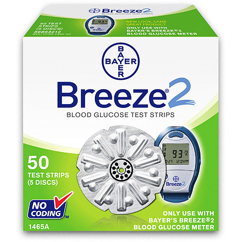 Bayer Breeze 2 Blood Glucose Test Strips, 50 count