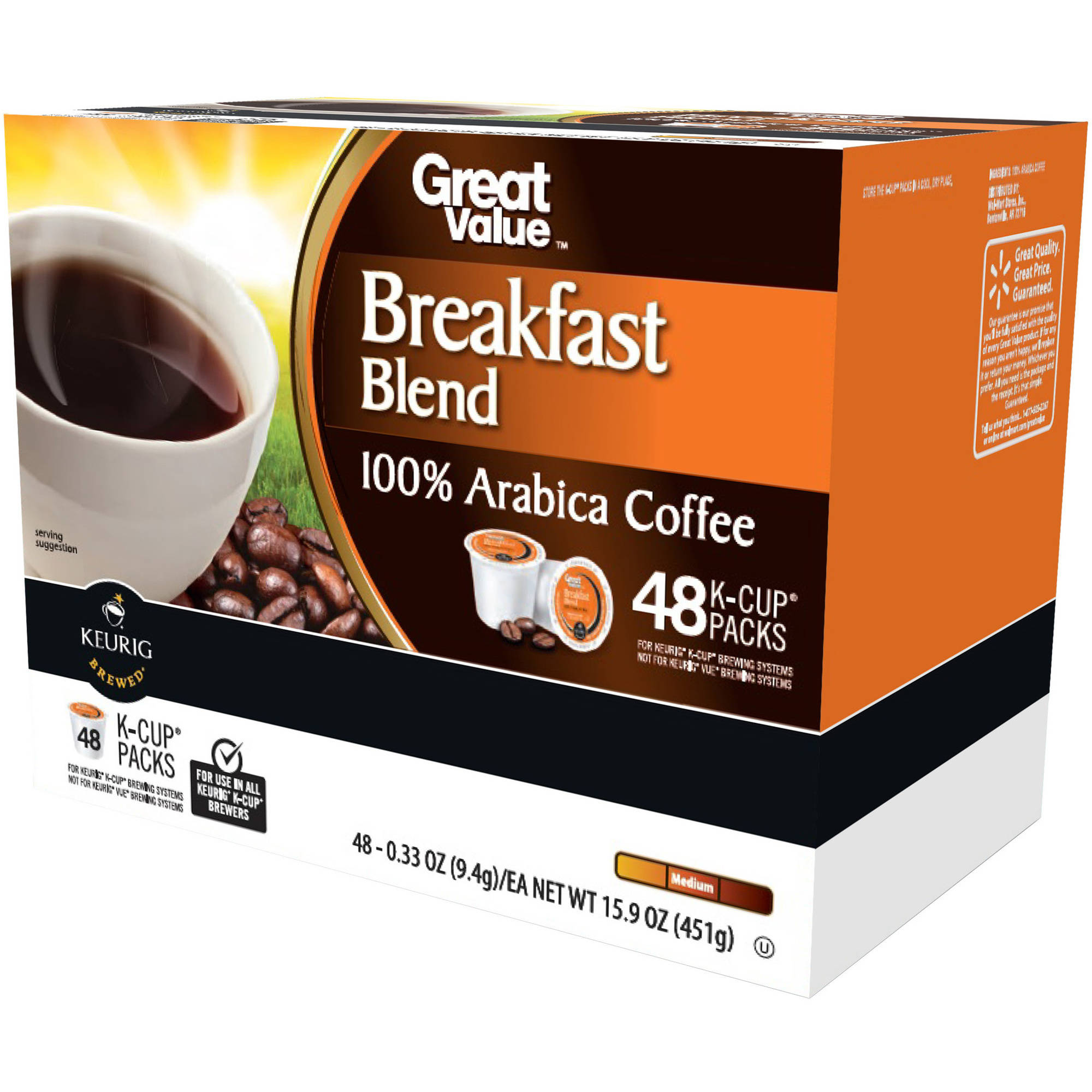 Great Value Breakfast Blend Medium Roast Coffee K-Cups, 0.33 oz, 48 count