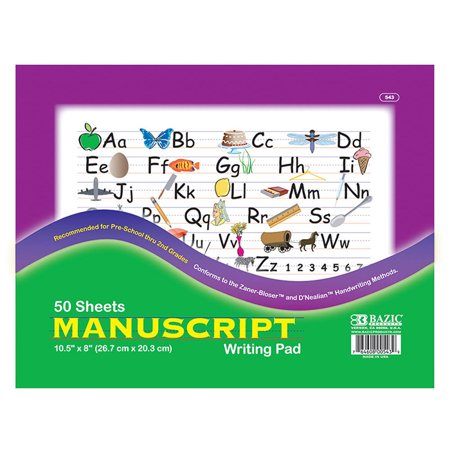 BAZIC 50 Ct. 10.5 inch X 8 inch Manuscript Writing Pad Pack oF - 48 - image 1 of 1