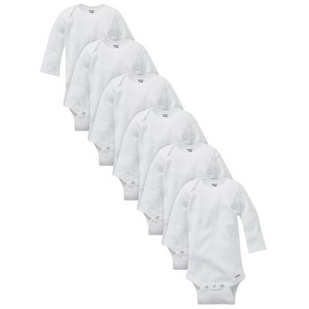 Gerber Baby Boy or Girl Gender Neutral White Organic Onesies Long Sleeve Bodysuits, 6-Pack