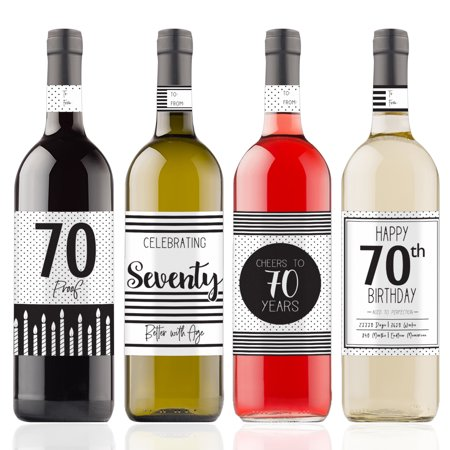 70th Birthday Wine Bottle Stickers, 4ct - Black and White Stripe and Polka Dot Birthday Party Supplies - 4 Wine Labels with Gift Tags