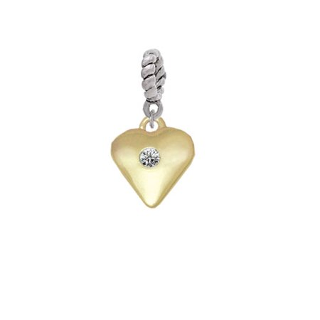 Large Clear Crystal Birthday Crystal Gold Tone Heart - Rope Charm Bead