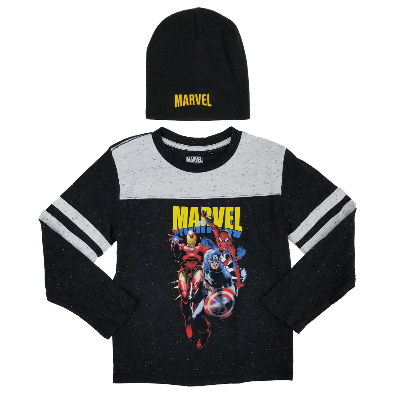 Ages 9-12 Marvel Captain America Vertical Boys Kids Long Sleeve T-Shirt