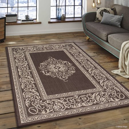 Chocolate allstar indoor outdoor all weather rug with for All weather patio rugs