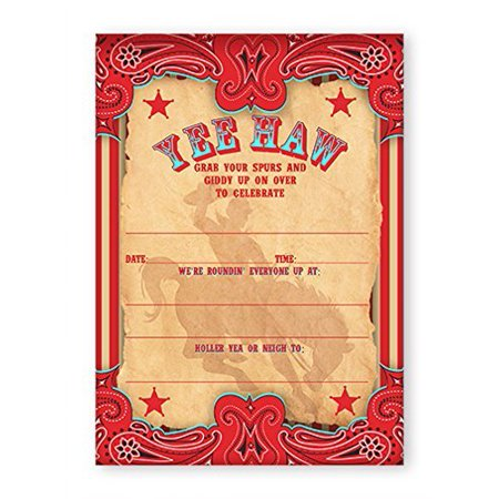 Cowboy Party Invitations - 10 Invitations + 10 Envelopes - Cowboy Invitations