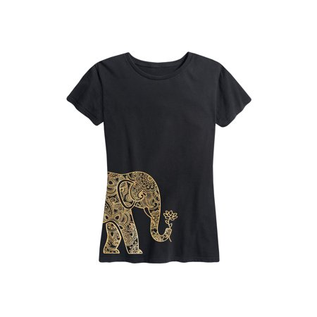 Elephant Side Hit Gold Foil - Ladies Short Sleeve Classic Fit Tee