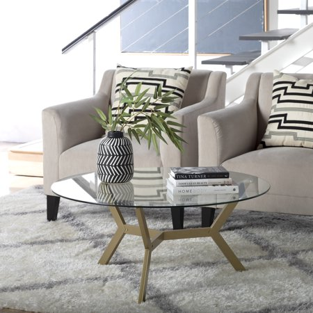 Studio Designs Home Archtech Mid-Century Modern 38 - inch Round, Three-Legged Coffee Table in Gold /Clear Glass ()