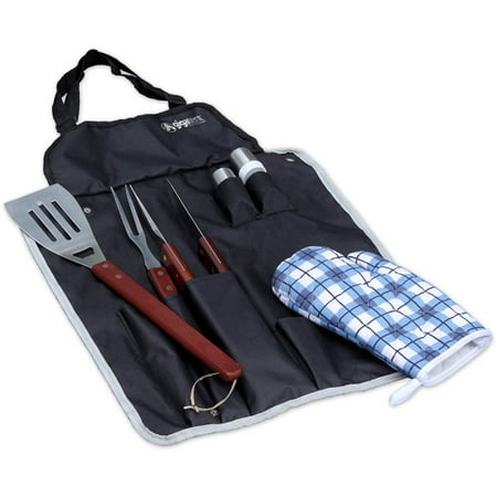 - BBQ Apron and Utensil Set • Set Includes Stainless Steel Steak Fork, Tongs, Slotted Turner, Oven Mitt, Salt & Pepper Shakers and Apron