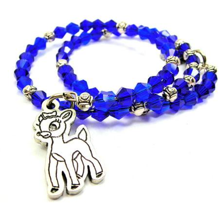 Chubby Chico Charms Cute Little Doe Bicone Crystal Wrap Bracelet in Sapphire Blue - Cute Chubby Teen