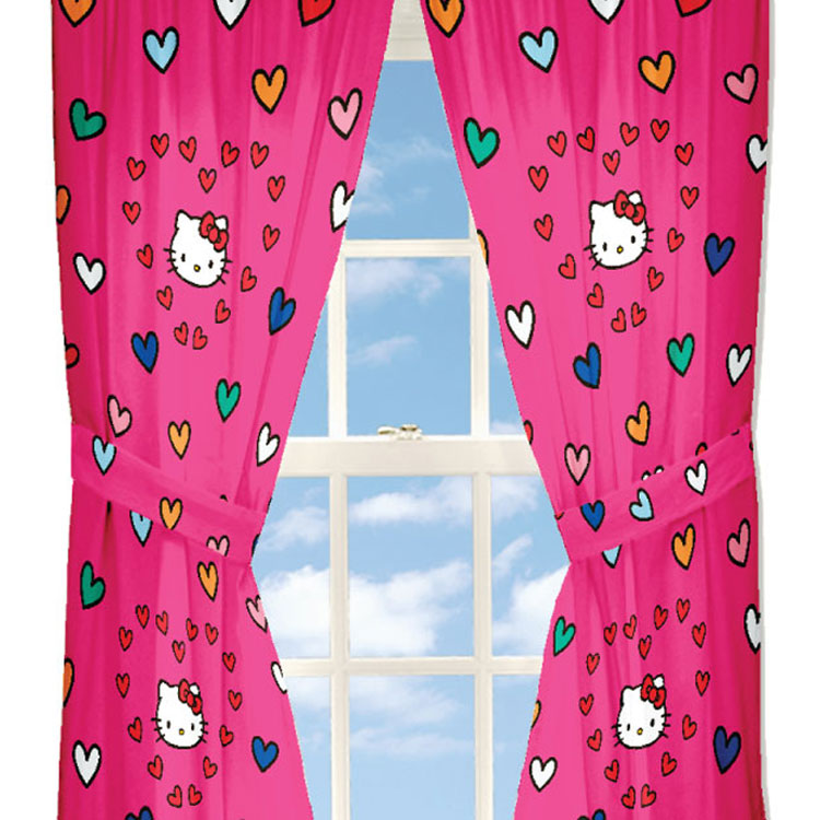 Sanrio Hello Kitty Curtains Free Time Hearts Window Panels and Tie-Backs