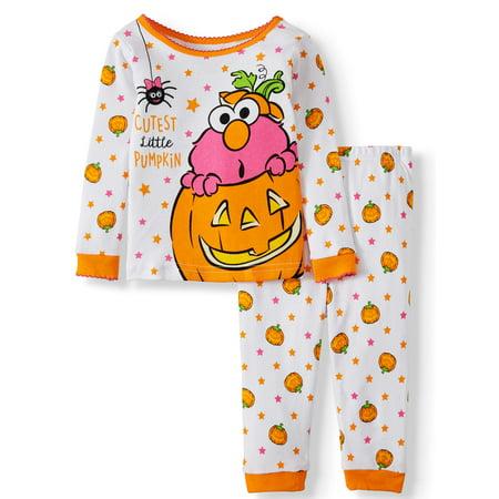 Halloween Pajamas For Baby Girl (Halloween Sesame Street Baby Girl Long Sleeve Cotton Snug Fit Pajamas, 2-Piece)