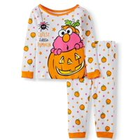 Halloween Sesame Street Baby Girl Long Sleeve Cotton Snug Fit Pajamas, 2-Piece Set