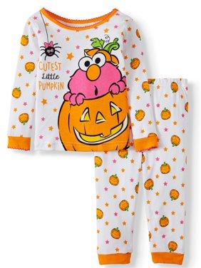 Halloween Sesame Street Baby Girl Long Sleeve Cotton Snug Fit Pajamas, 2-Piece Set