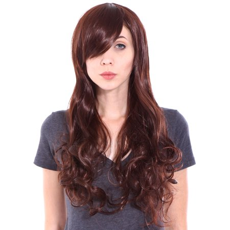 Ladies Long Wavy Curly Reddish Brown Hair Wig for Cosplay - Mens Long Hair Wig