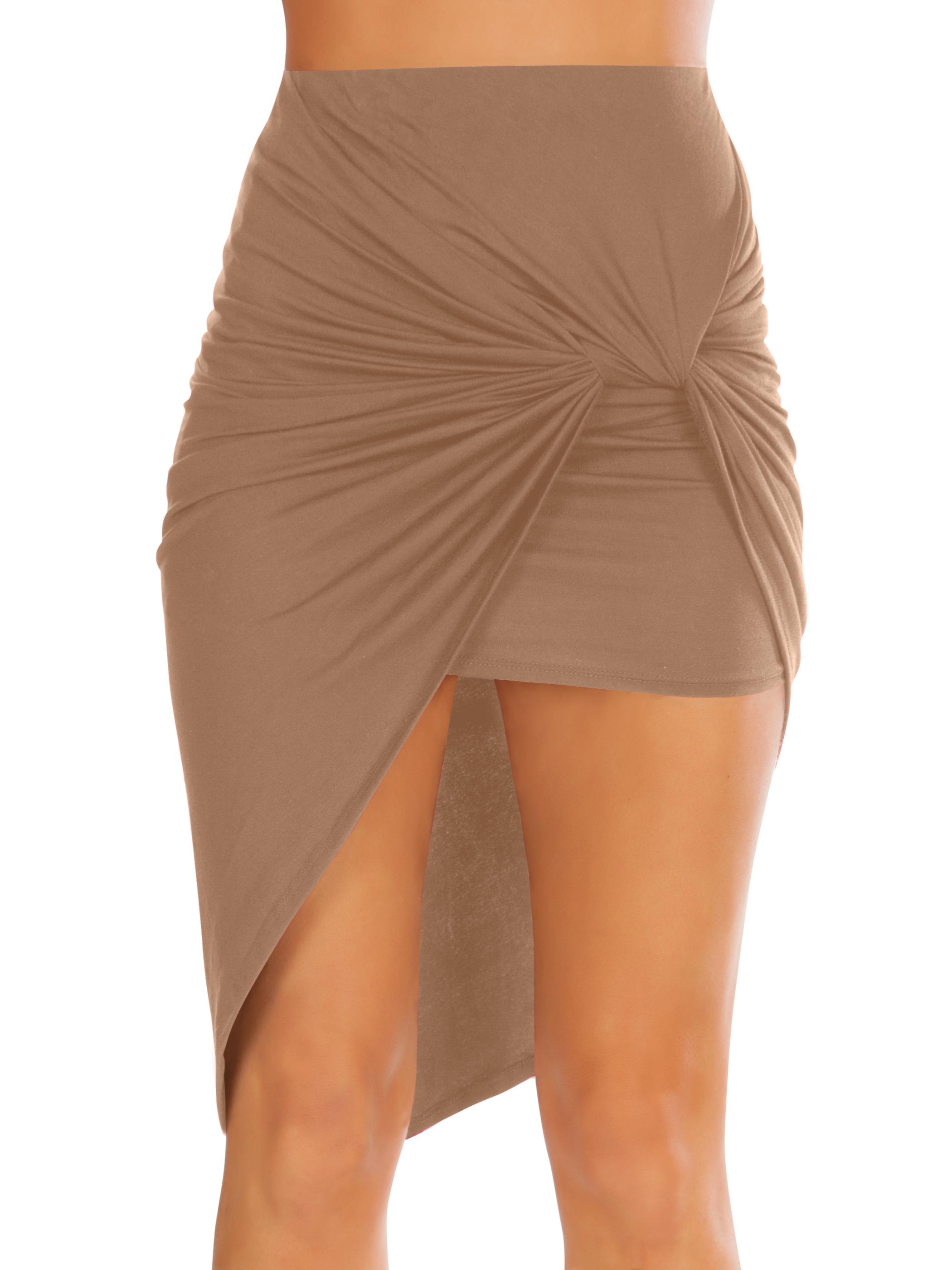 Size Small, Mocha Womens Drape Up Stretchy Asymmetrical High Low Short Mini Bodycon Pencil Skirt
