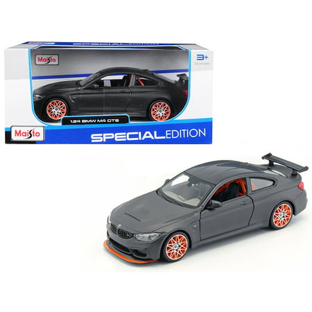 BMW M4 GTS Gray with Carbon Top and Orange Wheels 1/24 Diecast Model Car by