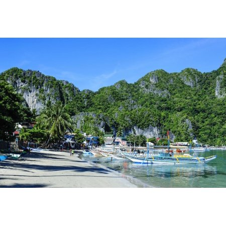 The Bay of El Nido with Outrigger Boats, Bacuit Archipelago, Palawan, Philippines Print Wall Art By Michael